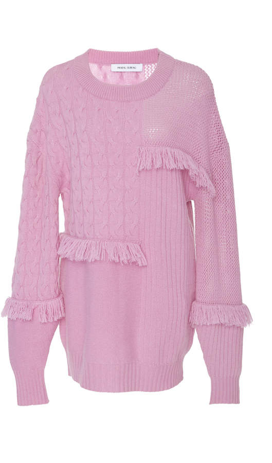 Prabal Gurung Oversize Cashmere Fringe Sweater