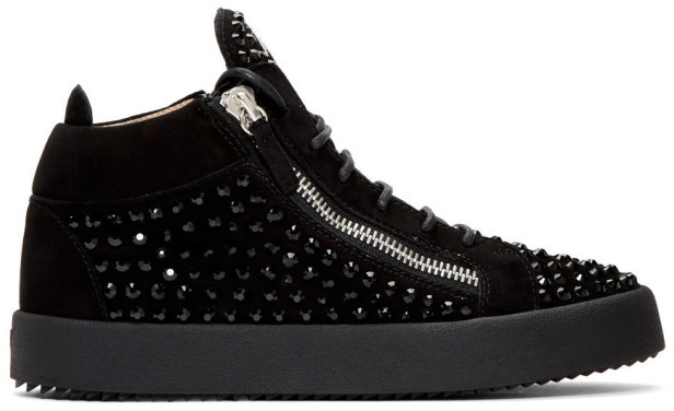 Giuseppe Zanotti Black Suede Kriss Diamond High-Top Sneakers