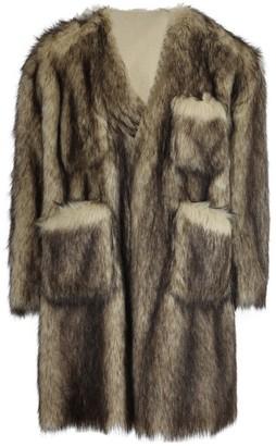 Raf Simons Faux Fur Labo Coat Off-white/black