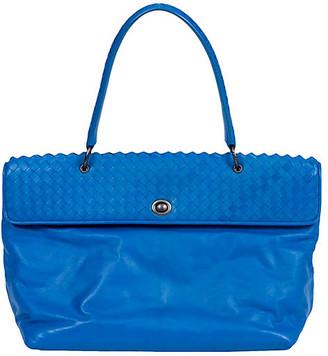 One Kings Lane Vintage Bottega Veneta Turquoise Woven Handbag - Vintage Lux