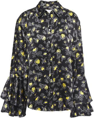 Cinq à Sept Tiered Floral-print Silk-satin Blouse