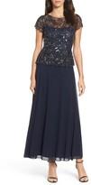 Pisarro Nights Women's Beaded Mesh Mock Two-Piece Gown