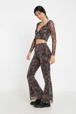 Urban Renewal Vintage Made From Remnants Paisley Mesh Flare Trousers - black XS at Urban Outfitters