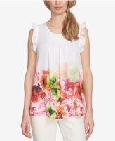 CeCe Printed Ruffled Top
