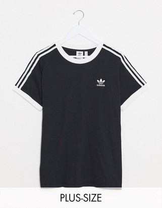 adidas Plus logo three stripe crew neck T-shirt in black