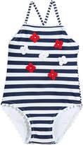Mayoral Stripe One-Piece Swimsuit w/ 3D Flowers, Size 3-7