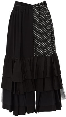 Junya Watanabe Ester Tiered Crepe Skirt - Womens - Black Multi