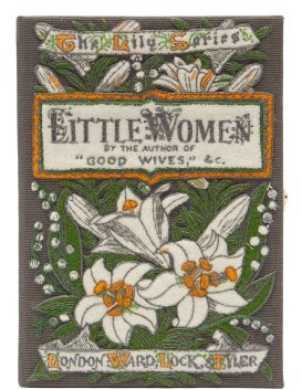 Olympia Le-Tan Little Women Embroidered Book Clutch - Grey Multi