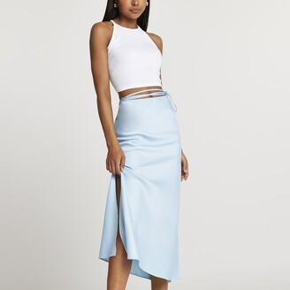 River Island Womens Blue tie waist midi skirt