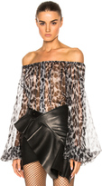 Saint Laurent Leopard Print Off the Shoulder Blouse