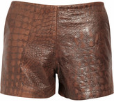 Kelly Bergin Croc-embossed leather shorts
