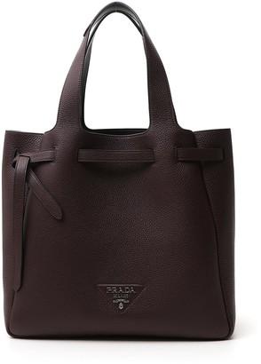 Prada Logo Top Handle Tote Bag