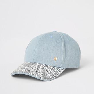 River Island Denim diamante embellished cap