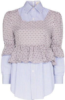Rentrayage Layered Checked Bustier Shirt