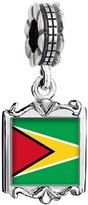 GiftJewelryShop Silver Plated Guyana flag Photo Family Mom & Baby Girl & Dad Dangle Bead Charm Bracelet