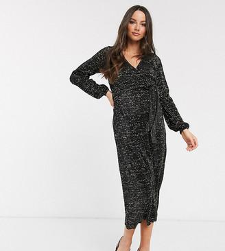 ASOS DESIGN Maternity glitter midi plisse tea wrap dress in black