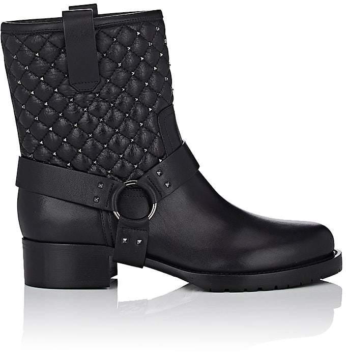 Valentino Women's Rockstud Spike Leather Biker Boots