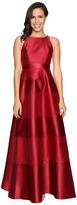 Adrianna Papell Halter Mikado Satin Stripe Gown Women's Dress