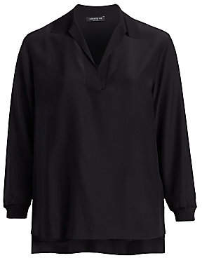 Lafayette 148 New York Lafayette 148 New York, Plus Size Women's Long Sleeve Silk Boyd Blouse
