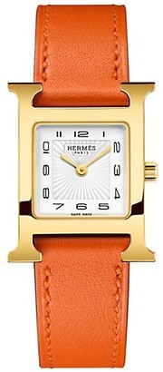 Hermes Heure H 23MM Goldplated & Leather Strap Watch