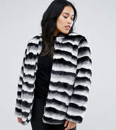 Junarose Striped Faux Fur Coat