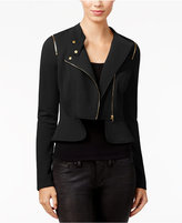 Material Girl Juniors' Peplum Moto Jacket, Only at Macy's