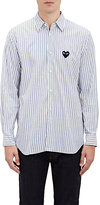 Comme des Garcons Men's Heart Patch Striped Shirt