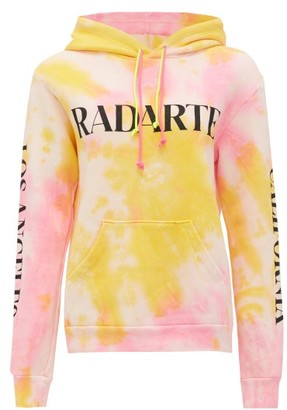 Rodarte Logo-print Tie-dye Cotton-blend Hooded Sweatshirt - Womens - Orange Multi