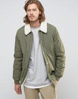 Asos Coach Jacket With Fleece Lining In Khaki