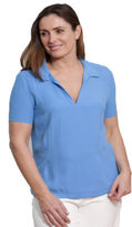Milan Ladies Short Sleeve Blouse Casual Summer Top Blue V Neck Top