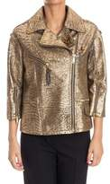 Golden Goose Deluxe Brand Women's Gold Leather Outerwear Jacket.
