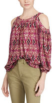 Ralph Lauren Petite Ikat Jersey Cold-Shoulder Top