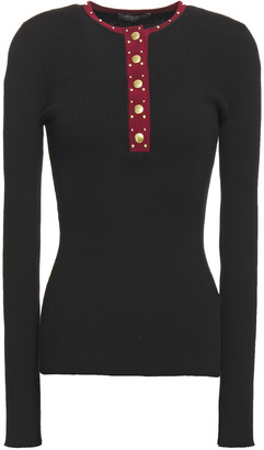 Alexander McQueen Studded Ribbed Wool-blend Top