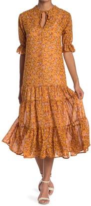 Velvet Torch Floral Split Neck Midi Dress