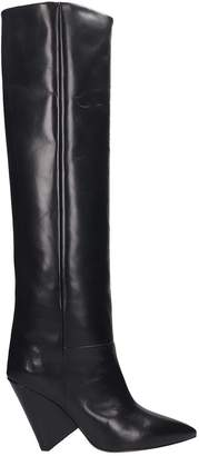 Isabel Marant Lokyo High Heels Boots In Black Leather