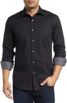Bugatchi Shaped Fit Grid Print Sport Shirt