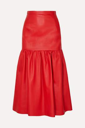Christopher Kane Gathered Leather Midi Skirt - IT38