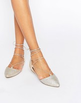 Call it SPRING Cinnabar Silver Lace Up Ghillie Flat Shoes
