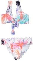 Hobie Kids In the Mix Ruffle Bralette Top Ruffle Hipster Bottoms (Big Kids) (Multi) Girl's Swimwear Sets