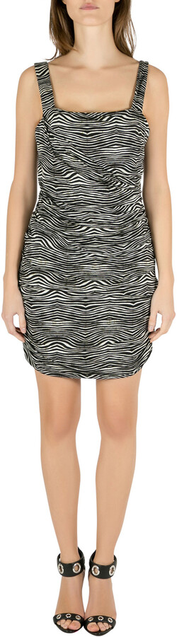 Pierre Balmain Black and White Stretch Zebra Print Draped Jersey Mini Dress L