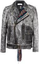 Facetasm contrast collar biker jacket