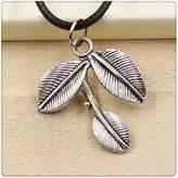 Nobrand No brand Fashion Tibetan Silver Pendant leaf branch Necklace Choker Charm Black Leather Cord Handmade Jewlery