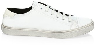 Saint Laurent Distressed Leather Low-Top Sneakers
