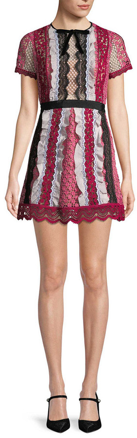 Self-Portrait Lace Embroidery Flare Dress