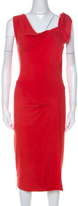 Vivienne Westwood Red Wool Asymmetrical Faux Wrap Midi Dress S