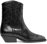 Sandro Embroidered Leather Ankle Boots