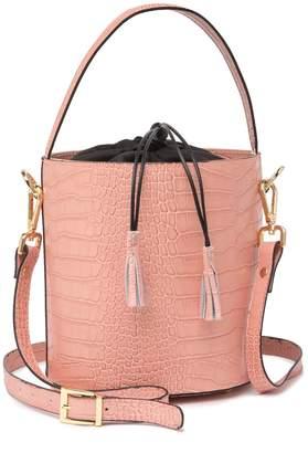 Persaman New York Harper Croc-Embossed Leather Bucket Bag