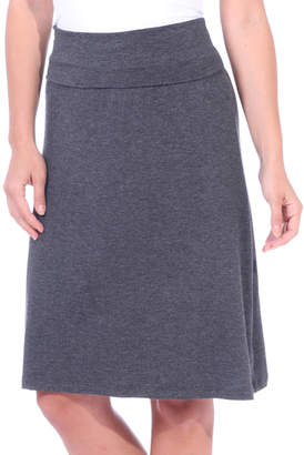 Brooke & Emma Women's Casual Skirts CHARCOAL - Charcoal Fold-Over Knee-Length Skirt - Women