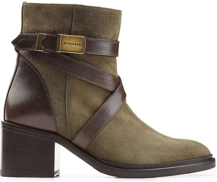 DSQUARED2 Suede Ankle Boots with Contrast Leather Straps