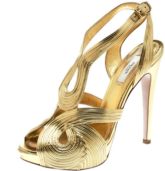 Prada Metallic Gold Leather Peep Toe Ankle Strap Platform Sandals Size 38